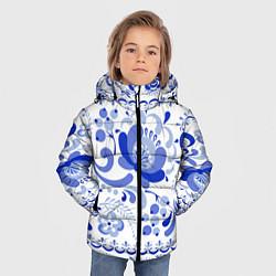 Куртка зимняя для мальчика Гжель 2 цвета 3D-черный — фото 2