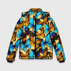 Куртка зимняя для мальчика Бабочки цвета 3D-черный — фото 1