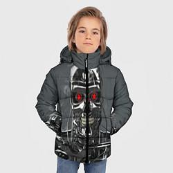 Куртка зимняя для мальчика Скелет Терминатора цвета 3D-черный — фото 2