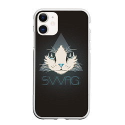 Чехол iPhone 11 матовый Cat цвета 3D-белый — фото 1