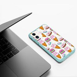 Чехол iPhone 11 матовый Сладкие котики цвета 3D-мятный — фото 2