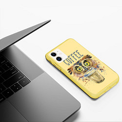Чехол iPhone 11 матовый Owls like coffee цвета 3D-желтый — фото 2