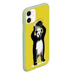 Чехол iPhone 11 матовый Панда-маляр цвета 3D-салатовый — фото 2