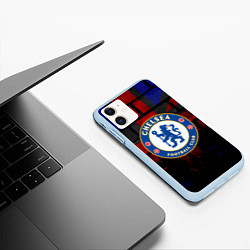 Чехол iPhone 11 матовый Chelsea цвета 3D-голубой — фото 2