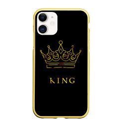 Чехол iPhone 11 матовый KING цвета 3D-желтый — фото 1