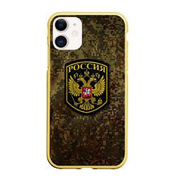 Чехол iPhone 11 матовый Камуфляж: Россия цвета 3D-желтый — фото 1