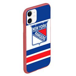 Чехол iPhone 11 матовый New York Rangers цвета 3D-красный — фото 2