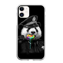 Чехол iPhone 11 матовый Панда с карамелью цвета 3D-белый — фото 1