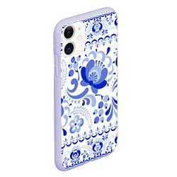 Чехол iPhone 11 матовый Гжель 2 цвета 3D-светло-сиреневый — фото 2