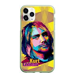 Чехол iPhone 11 Pro матовый Kurt Cobain: Abstraction цвета 3D-салатовый — фото 1