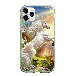 Чехол iPhone 11 Pro матовый Радужный единорог цвета 3D-салатовый — фото 1