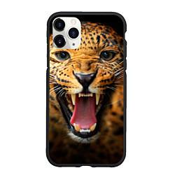 Чехол iPhone 11 Pro матовый Рык леопарда цвета 3D-черный — фото 1