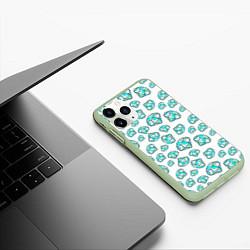 Чехол iPhone 11 Pro матовый Бриллианты цвета 3D-салатовый — фото 2
