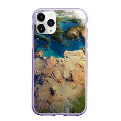 Чехол iPhone 11 Pro матовый Земля цвета 3D-светло-сиреневый — фото 1