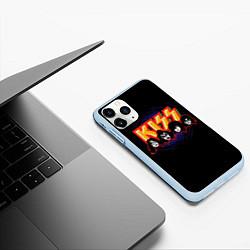 Чехол iPhone 11 Pro матовый KISS: Death Faces цвета 3D-голубой — фото 2