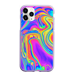 Чехол iPhone 11 Pro матовый Цветные разводы цвета 3D-светло-сиреневый — фото 1