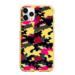Чехол iPhone 11 Pro матовый Камуфляж: желтый/черный/розовый цвета 3D-желтый — фото 1