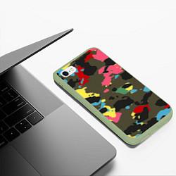 Чехол iPhone 6/6S Plus матовый Цветной камуфляж цвета 3D-салатовый — фото 2