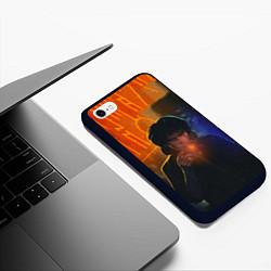 Чехол iPhone 6/6S Plus матовый Виктор Цой в ночи цвета 3D-черный — фото 2