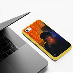 Чехол iPhone 6/6S Plus матовый Виктор Цой в ночи цвета 3D-желтый — фото 2