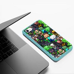 Чехол iPhone 6/6S Plus матовый Жители Майнкрафт цвета 3D-мятный — фото 2