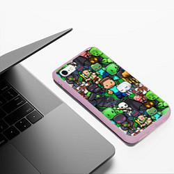 Чехол iPhone 6/6S Plus матовый Жители Майнкрафт цвета 3D-розовый — фото 2