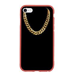 Чехол iPhone 6/6S Plus матовый Золотая цепь цвета 3D-красный — фото 1