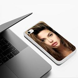 Чехол iPhone 6/6S Plus матовый Анжелина Джоли цвета 3D-белый — фото 2