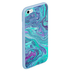 Чехол iPhone 6/6S Plus матовый Смесь красок цвета 3D-голубой — фото 2