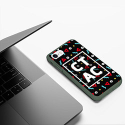 Чехол iPhone 7/8 матовый Стас цвета 3D-темно-зеленый — фото 2
