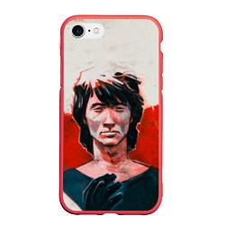 Чехол iPhone 7/8 матовый Молодой Цой цвета 3D-красный — фото 1