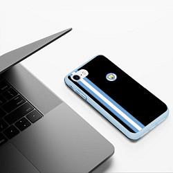 Чехол iPhone 7/8 матовый Манчестер Сити цвета 3D-голубой — фото 2