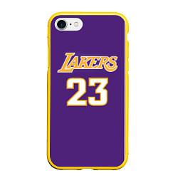 Чехол iPhone 7/8 матовый NBA Lakers 23 цвета 3D-желтый — фото 1