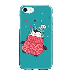 Чехол iPhone 7/8 матовый Пингвинчик цвета 3D-мятный — фото 1