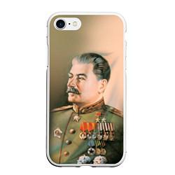 Чехол iPhone 7/8 матовый Иосиф Сталин цвета 3D-белый — фото 1