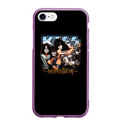 Чехол iPhone 7/8 матовый Kiss Monster цвета 3D-фиолетовый — фото 1