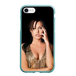 Чехол iPhone 7/8 матовый Angelina Jolie цвета 3D-мятный — фото 1