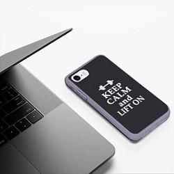 Чехол iPhone 7/8 матовый Keep Calm & Lift On цвета 3D-серый — фото 2