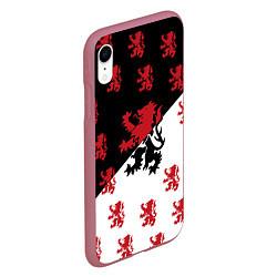 Чехол iPhone XR матовый Лев герба Нидерландов цвета 3D-малиновый — фото 2