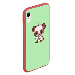 Чехол iPhone XR матовый Пандочка с бамбуком цвета 3D-красный — фото 2
