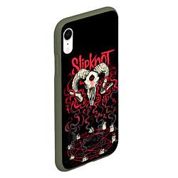 Чехол iPhone XR матовый Slipknot цвета 3D-темно-зеленый — фото 2