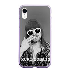 Чехол iPhone XR матовый Кобейн в очках цвета 3D-светло-сиреневый — фото 1