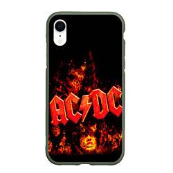 Чехол iPhone XR матовый AC/DC Flame цвета 3D-темно-зеленый — фото 1