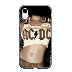 Чехол iPhone XR матовый AC/DC Girl цвета 3D-серый — фото 1