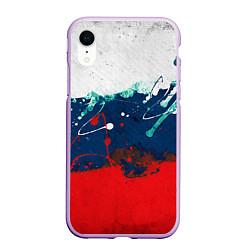 Чехол iPhone XR матовый Триколор РФ цвета 3D-сиреневый — фото 1