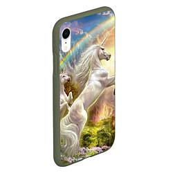 Чехол iPhone XR матовый Радужный единорог цвета 3D-темно-зеленый — фото 2