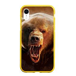 Чехол iPhone XR матовый Рык медведя цвета 3D-желтый — фото 1