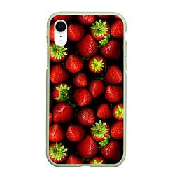 Чехол для iPhone XR матовый с принтом Клубничка, цвет: 3D-салатовый, артикул: 10065069205903 — фото 1