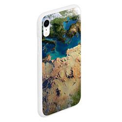 Чехол iPhone XR матовый Земля цвета 3D-белый — фото 2