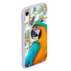 Чехол iPhone XR матовый Летний попугай цвета 3D-светло-сиреневый — фото 2